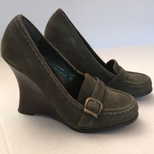 Bakers Moss Green Suede Heeled Shoes